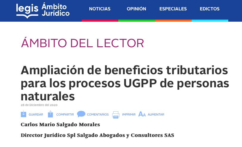 Ampliación de beneficios tributarios para los procesos UGPP de personas naturales